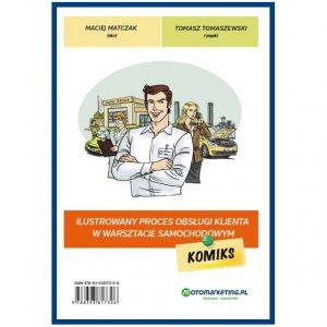 Ilustrowany proces obsługi klienta w warsztacie samochodowym. Komiks